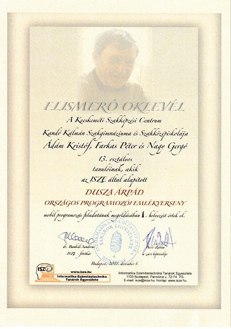 Dusza Árpád Országos Progamozói Emlékverseny - 2018 Ádám Kristóf